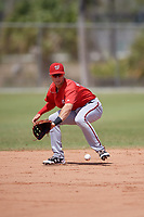 Washington Nationals Carter Kieboom (9) fields a ball during practice before a minor league Spring Training game against the St. Louis Cardinals on March 27, 2017 at the Roger Dean Stadium Complex in Jupiter, Florida.  (Mike Janes/Four Seam Images)