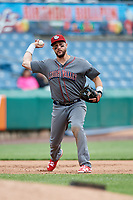 Lehigh Valley IronPigs third baseman Trevor Plouffe (19) throws to first base during a game against the Syracuse Chiefs on May 20, 2018 at NBT Bank Stadium in Syracuse, New York.  Lehigh Valley defeated Syracuse 5-2.  (Mike Janes/Four Seam Images)