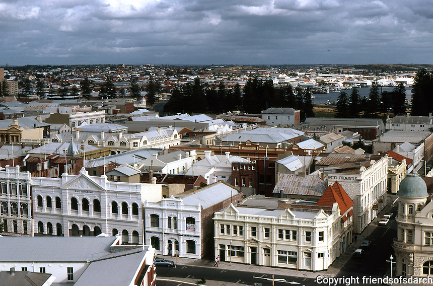 Fremantle: Skyline from Port Terminal. P&O Building to left. Photo '82.
