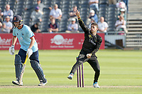 Graeme van Buuren in bowling action for Gloucestershire during Gloucestershire vs Essex Eagles, Royal London One-Day Cup Cricket at the Bristol County Ground on 3rd August 2021