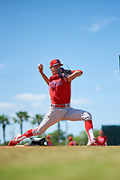 Philadelphia Phillies pitcher Kevin Gowdy warms up in the bullpen before a Minor League Spring Training game against the Toronto Blue Jays on March 29, 2019 at the Carpenter Complex in Clearwater, Florida.  (Mike Janes/Four Seam Images)