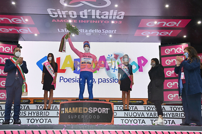 Race leader Joao Almeida (POR) Deceuninck-Quick Step retains the Maglia Rosa at the end of Stage 5 of the 103rd edition of the Giro d'Italia 2020 running 225km from Mileto to Camigliatello Silano, Sicily, Italy. 7th October 2020.  <br /> Picture: LaPresse/Gian Mattia D'Alberto   Cyclefile<br /> <br /> All photos usage must carry mandatory copyright credit (© Cyclefile   LaPresse/Gian Mattia D'Alberto)