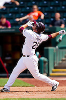 Brock Chaffin (25) of the Missouri State Bears looks up at an infield pop fly during a game against the Evansville Purple Aces at Hammons Field on May 12, 2012 in Springfield, Missouri. (David Welker/Four Seam Images)