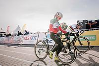 CX World Champion Sanne Cant (BEL) & Italian Champion Eva Lechner (ITA/Creafin-TuvSud) lining up for the start<br /> <br /> Superprestige Ruddervoorde 2018 (BEL)