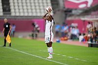 KASHIMA, JAPAN - JULY 27: Crystal Dunn #2  of the United States with a throw in before a game between Australia and USWNT at Ibaraki Kashima Stadium on July 27, 2021 in Kashima, Japan.