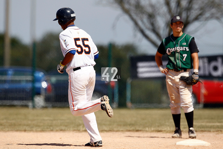 15 July 2011: Alejandro Zuaznabar of the Montpellier Barracudas runs the bases after his home run during the 2011 Challenge de France match won 10-7 by the Montpellier Barracudas over Montigny Cougars, in Les Andelys, near Rouen, France.