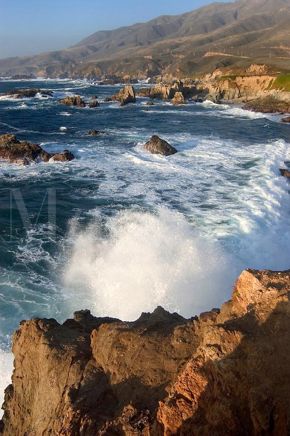 PACIFIC OCEAN WAVES crash on the rocky coastline at GARRAPATA STATE BEACH near Carmel - BIG SUR, CALIFORNIA