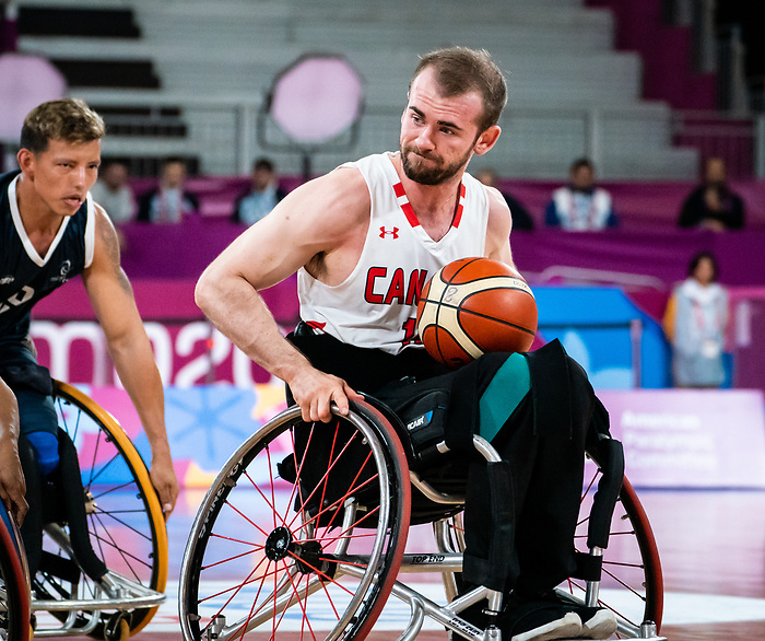 Lee Melymick, Lima 2019 - Wheelchair Basketball // Basketball en fauteuil roulant.<br /> Men's wheelchair basketball takes on Colombia in the semifinal game // Le basketball en fauteuil roulant masculin affronte la Colombie en demi-finale. 30/08/2019.