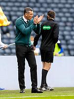 22nd May 2021; Hampden Park, Glasgow, Scotland; Scottish Cup Football Final, St Johnstone versus Hibernian; Jack Ross Hibernian Manager tries to lift his team