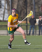University of Vermont attacker Sydney Mas (17) at midfield. Boston College defeated University of Vermont, 15-9, at Newton Campus Field, April 4, 2012.