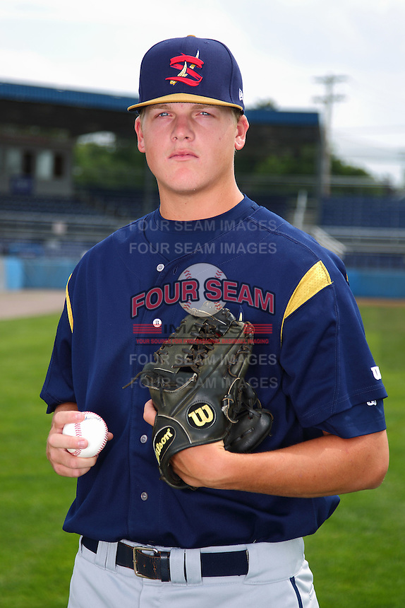 State College Spikes pitcher Kevin Kleis #43 poses for a photo before a game against the Batavia Muckdogs at Dwyer Stadium on July 7, 2011 in Batavia, New York.  Batavia defeated State College 16-3.  (Mike Janes/Four Seam Images)