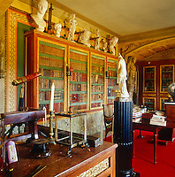 Jacques Garcia's study where the mahogany bookshelves also display a collection of marble busts
