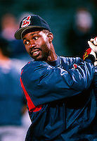 Shawon Dunston of the Cleveland Indians plays in a baseball game at Edison International Field during the 1998 season in Anaheim, California. (Larry Goren/Four Seam Images)