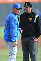 Head Coach Gary Henderson argues a call during a  game against the Tennessee Volunteers at Lindsey Nelson Stadium on March 24, 2012 in Knoxville, Tennessee. The game was suspended in the bottom of the 5th with the Wildcats leading 5-0. Tony Farlow/Four Seam Images.