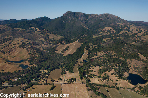 aerial photograph of vineyards on the western slopes of Mount Saint Helena, Napa County, California