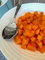 Peru.  Peruvian Cuisine.  Papaya Cubes.  Westin Lima Hotel and Convention Center.