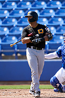 Pittsburgh Pirates Phillip Evans (24) bats during a Major League Spring Training game against the Toronto Blue Jays on March 1, 2021 at TD Ballpark in Dunedin, Florida.  (Mike Janes/Four Seam Images)