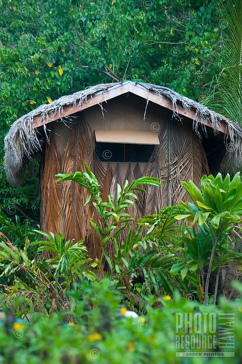 A building at Kamokila Hawaiian Village, Wailua River Valley, Kauai.