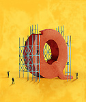 Illustrative image of architects building Q against yellow background