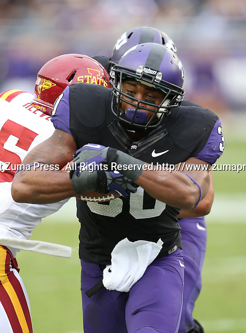 TCU Horned Frogs running back Aundre Dean (30) in action during the game between the Iowa State Cyclones and the TCU Horned Frogs  at the Amon G. Carter Stadium in Fort Worth, Texas. Iowa State leads TCU 16 to 10 at halftime....