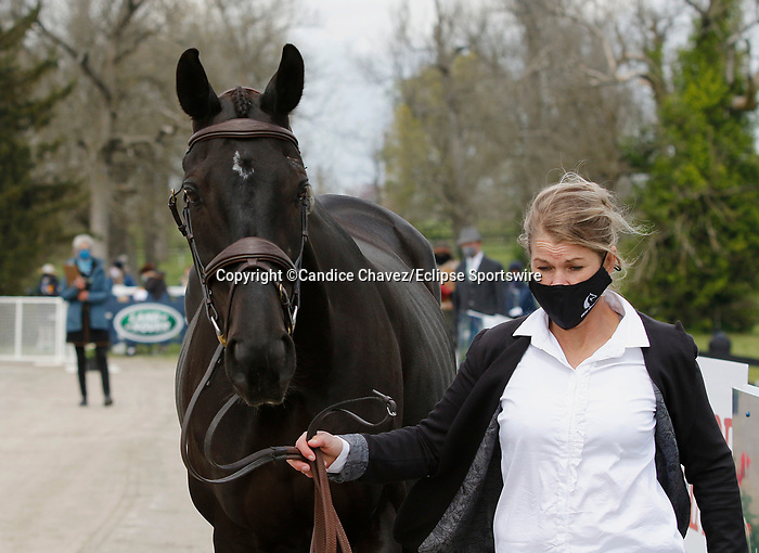 April 21, 2021: 32 Classic Moet and rider Jonelle Price from New Zealand in the first horse veterinary inspection at the Land Rover Three Day Event at the Kentucky Horse Park in Lexington, KY on April 21, 2021.  Candice Chavez/ESW/CSM