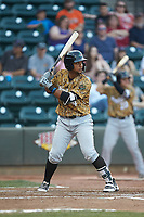 Andretty Cordero (4) of the Down East Wood Ducks at bat against the Winston-Salem Dash at BB&T Ballpark on May 12, 2018 in Winston-Salem, North Carolina. The Wood Ducks defeated the Dash 7-5. (Brian Westerholt/Four Seam Images)
