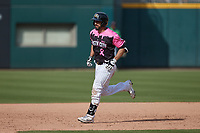 Seby Zavala (5) of the Charlotte Knights rounds the bases after hitting a home run against the Gwinnett Stripers at Truist Field on May 9, 2021 in Charlotte, North Carolina. (Brian Westerholt/Four Seam Images)