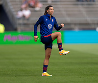 EAST HARTFORD, CT - JULY 5: Tobin Heath #7 of the USWNT warms up during a game between Mexico and USWNT at Rentschler Field on July 5, 2021 in East Hartford, Connecticut.