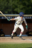 Jack Hennessy (7) (USC-Upstate) of the High Point-Thomasville HiToms follows through on his swing against the Statesville Owls at Finch Field on July 19, 2020 in Thomasville, NC. The HiToms defeated the Owls 21-0. (Brian Westerholt/Four Seam Images)