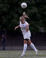 Boston College forward Stephanie Wirth (22) heads the ball. Boston College defeated North Carolina State,1-0, on Newton Campus Field, on October 23, 2011.