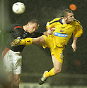 15/03/2005         Copyright Pic : James Stewart.File Name : jspa02_falkirk_v_clyde.JOHN HUGHES AND GARY ARBUCKLE  CHALLENGE....Payments to :.James Stewart Photo Agency 19 Carronlea Drive, Falkirk. FK2 8DN      Vat Reg No. 607 6932 25.Office     : +44 (0)1324 570906     .Mobile   : +44 (0)7721 416997.Fax         : +44 (0)1324 570906.E-mail  :  jim@jspa.co.uk.If you require further information then contact Jim Stewart on any of the numbers above.........A