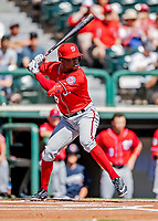 25 February 2019: Washington Nationals outfielder Victor Robles at bat during a pre-season Spring Training game against the Atlanta Braves at Champion Stadium in the ESPN Wide World of Sports Complex in Kissimmee, Florida. The Braves defeated the Nationals 9-4 in Grapefruit League play in what will be the Braves' last season at the Disney / ESPN Wide World of Sports complex. Mandatory Credit: Ed Wolfstein Photo *** RAW (NEF) Image File Available ***