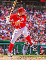 14 April 2013: Washington Nationals third baseman Ryan Zimmerman in action against the Atlanta Braves at Nationals Park in Washington, DC. The Braves shut out the Nationals 9-0 to sweep their 3-game series. Mandatory Credit: Ed Wolfstein Photo *** RAW (NEF) Image File Available ***