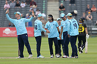 Shane Snater of Essex celebrates with his team mates after taking the wicket of Chris Dent during Gloucestershire vs Essex Eagles, Royal London One-Day Cup Cricket at the Bristol County Ground on 3rd August 2021