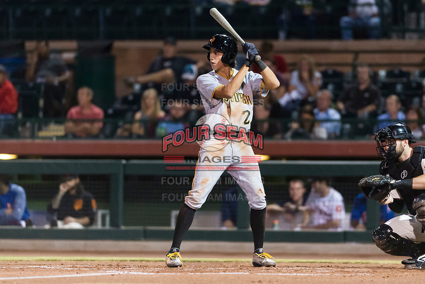 Surprise Saguaros shortstop Cole Tucker (2), of the Pittsburgh Pirates organization, at bat during an Arizona Fall League game against the Scottsdale Scorpions at Scottsdale Stadium on October 15, 2018 in Scottsdale, Arizona. Surprise defeated Scottsdale 2-0. (Zachary Lucy/Four Seam Images)