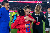 CARSON, CA - FEBRUARY 7: Crystal Dunn #19 and Kelley O'Hara #5 of the United States hug during a game between Mexico and USWNT at Dignity Health Sports Park on February 7, 2020 in Carson, California.