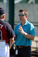 Jonathan Schuerholz, right, Atlanta Braves assistant director of player development, talks with Dave Trembley, director of player development at a Minor League Spring Training workout on Tuesday, March 17, 2015, at the ESPN Wide World of Sports Complex in Lake Buena Vista, Florida. (Tom Priddy/Four Seam Images)