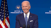 United States President-elect Joe Biden smiles as he answers questions from the media pool after delivering remarks before the holiday from the Queen Theatre in Wilmington, Delaware on Tuesday, December 22, 2020. <br /> CAP/MPI/RS<br /> ©RS/MPI/Capital Pictures