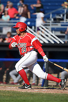 Batavia Muckdogs catcher Luis Alberto Sanz (19) at bat during a game against the State College Spikes on June 22, 2014 at Dwyer Stadium in Batavia, New York.  State College defeated Batavia 10-3.  (Mike Janes/Four Seam Images)