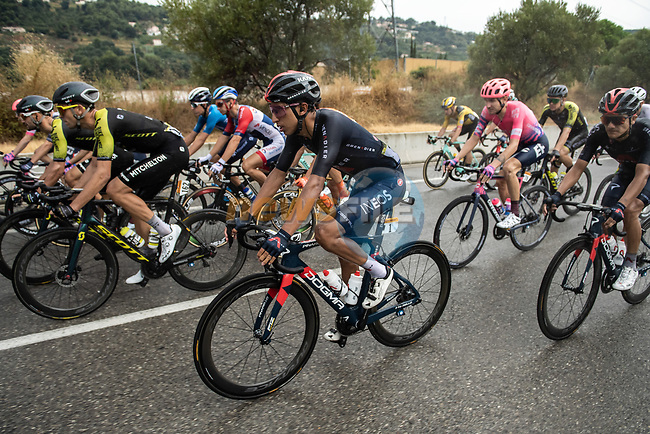 The peloton including Egan Bernal (COL) Team Ineos Grenadiers during Stage 1 of Tour de France 2020, running 156km from Nice Moyen Pays to Nice, France. 29th August 2020.<br /> Picture: ASO/Alex Broadway | Cyclefile<br /> All photos usage must carry mandatory copyright credit (© Cyclefile | ASO/Alex Broadway)