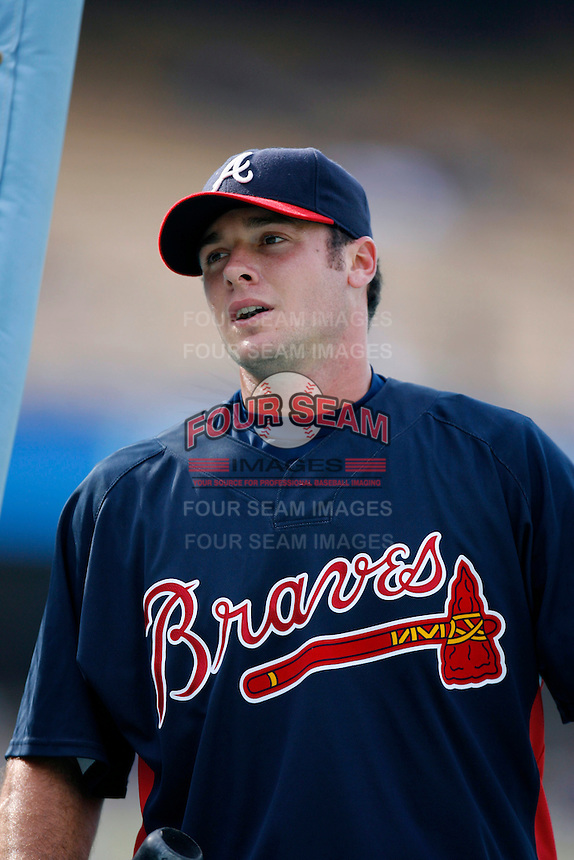Jarrod Saltalamacchia of the Atlanta Braves during batting practice before a game from the 2007 season at Dodger Stadium in Los Angeles, California. (Larry Goren/Four Seam Images)