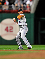 30 September 2009: New York Mets' shortstop Wilson Valdez in action against the Washington Nationals at Nationals Park in Washington, DC. The Nationals rallied in the bottom of the 9th inning on a Justin Maxwell walk-off Grand Slam to win 7-4 and sweep the Mets' 3-game series, capping the Nationals' 2009 home season. Mandatory Credit: Ed Wolfstein Photo