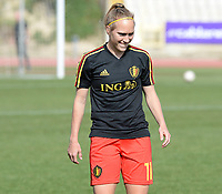 20180307 - LARNACA , CYPRUS :  Belgian Janice Cayman pictured during warming up of a women's soccer game between  South Africa and the Belgian Red Flames  , on Wednesday 7 March 2018 at the GSZ Stadium in Larnaca , Cyprus . This is the final game in a decision for 5th or 6th place for Belgium during the Cyprus Womens Cup , a prestigious women soccer tournament as a preparation on the World Cup 2019 qualification duels. PHOTO SPORTPIX.BE | DAVID CATRY