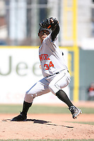 April 15th 2008:  Pitcher Felix Romero (34) of the Bowie Baysox, Class-AA affiliate of the Baltimore Orioles, during a game at Jerry Uht Park in Erie, PA.  Photo by:  Mike Janes/Four Seam Images