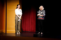 USA International Harp Competition Executive Director Erin Brooker-Miller, left, and Founder and Artistic Director Susann McDonald speak before a laureate recital by harpist Remy van Kesteren during the 11th USA International Harp Competition at the Buskirk-Chumley Theater in Bloomington, Indiana on Saturday, July 6, 2019. (Photo by James Brosher)