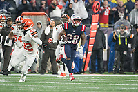 FOXBOROUGH, MA - OCTOBER 27: New England Patriots Runningback James White #28 runs after catching a short pass during a game between Cleveland Browns and New Enlgand Patriots at Gillettes on October 27, 2019 in Foxborough, Massachusetts.