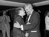 FILE - Serge Losique  et Pierre-Marc Johnson a la cloture du FFM , le 1er septembre 1986<br /> <br /> PHOTO : Agence Quebec Presse