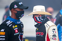 Jul 11, 2020; Clermont, Indiana, USA; NHRA top fuel driver Steve Torrence (right) with Antron Brown during qualifying for the E3 Spark Plugs Nationals at Lucas Oil Raceway. This is the first race back for NHRA since the start of the COVID-19 global pandemic. Mandatory Credit: Mark J. Rebilas-USA TODAY Sports