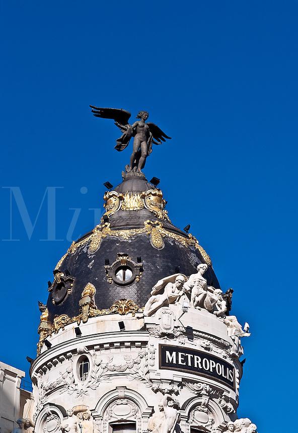Metropolis detail, Gran Via, Madrid, Spain