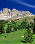 Italy, South Tyrol, Alto Adige, Dolomites, 9-hole-golf-course and Cima Catinaccio mountain range (2.981 m)